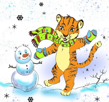 Drawing of little tiger and snowmen