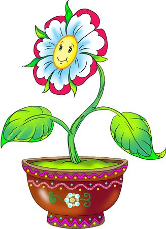 drawing of flower in the flowerpot Stock Photo