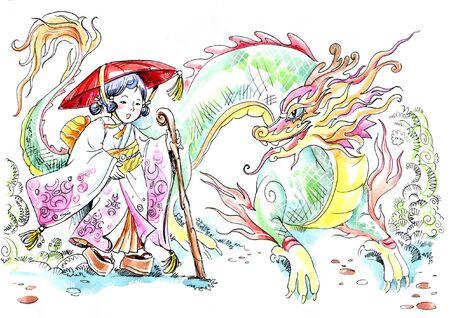 Drawing og Japanese girl and eastern dragon