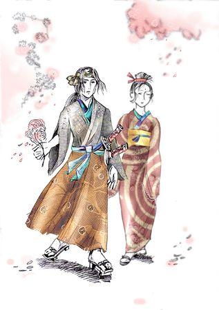 Drawing of walking samurai and geisha Stock Photo