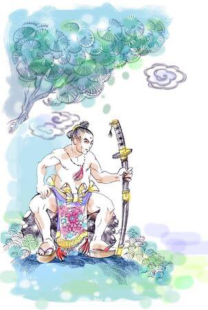 Drawing of samurai sitting on the rock near the tree Stock Photo - 6099267
