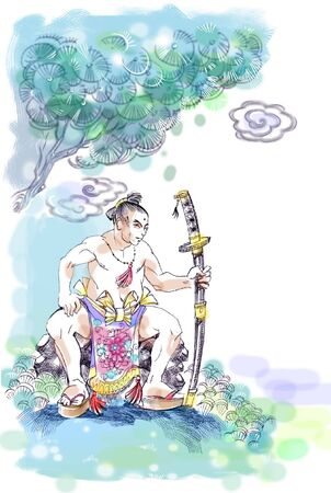 Drawing of samurai sitting on the rock near the tree