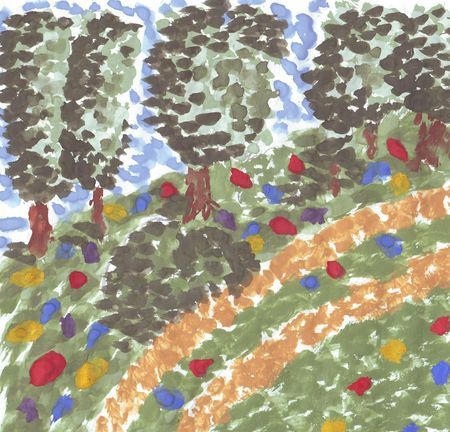 painting in the pointilism style . the path in the wood