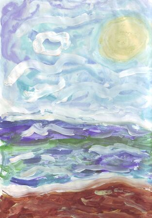 painting of the sea shore Stock Photo