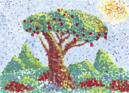 apple tree. painting in pointilism style.
