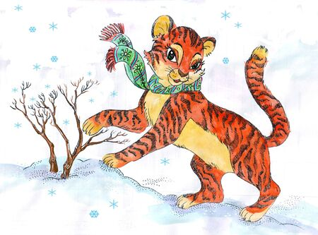 watercolor Drawing of little cute furry tiger playing in the snow