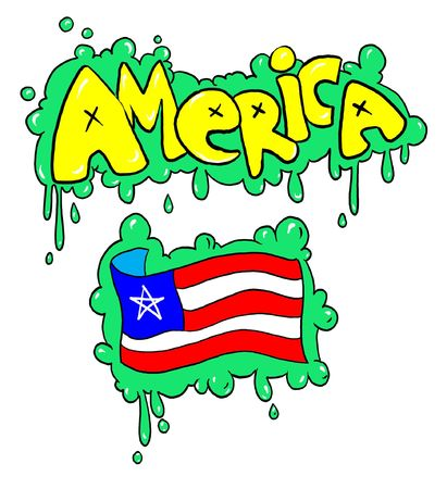 graffity drawing of american flag