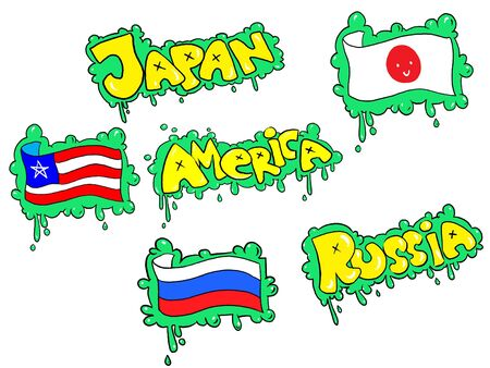 Graffiti drawing of America�s, Japan�s and Russia flags