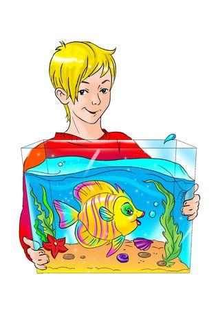 Boy with aquarium and fish Stock Photo - 6287016