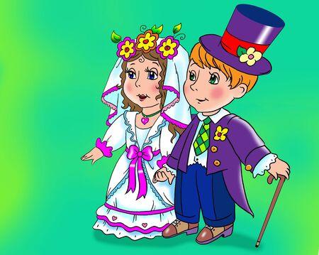 Cartoony doll wedding