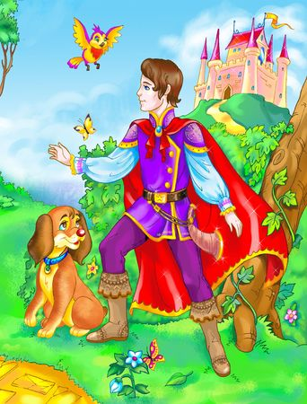 Classic fairy tale prince with dog in the forest photo