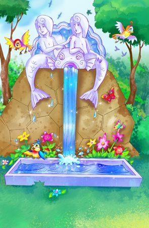 fairytale water fountain in the magic  forest Stock Photo