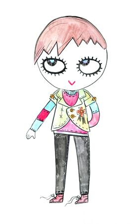 Drawing of cartoony punk  rock  girl Stock Photo - 6837973