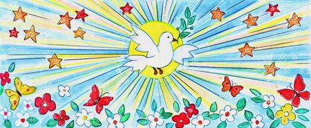 drawing of white dove in the sky   Stock Photo