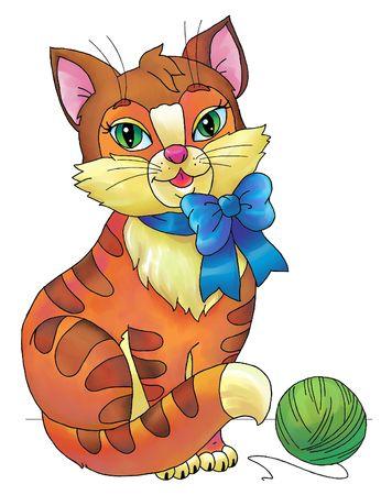 Drawing of cartoony red cat  photo