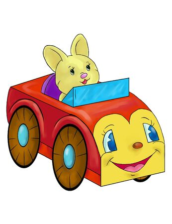 Drawing of toy rabbit in the red car  on the white background
