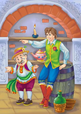 drawing of father and son from fairy tale