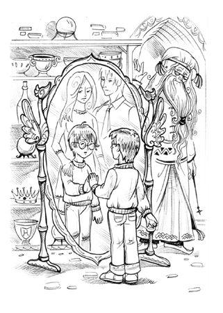 Boy looking in magic mirror