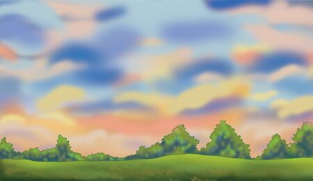 Color drawing of evening summer view Stock Photo