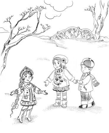 children and Snow Maiden