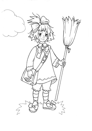 black and white drawing of little funny witch photo