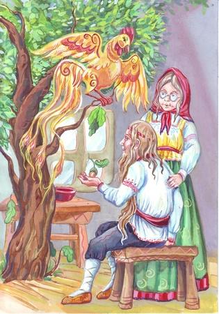 slavic: of slavic folcklore scene with firebird or Golden Cockerel