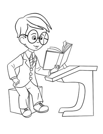 scholars: colegial en las gafas de leer el libro en el escritorio