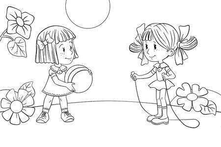 niños jugando caricatura: Dos niñas jugando Foto de archivo