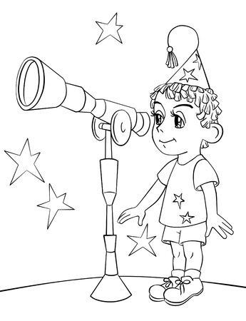 man looking at sky: little Astronomer Stock Photo