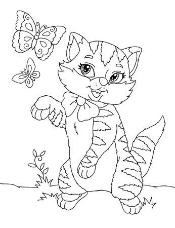 Contour drawing of the cute little cartoony kitten
