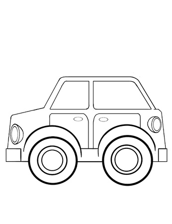 Contour drawing of the  toy car for coloring