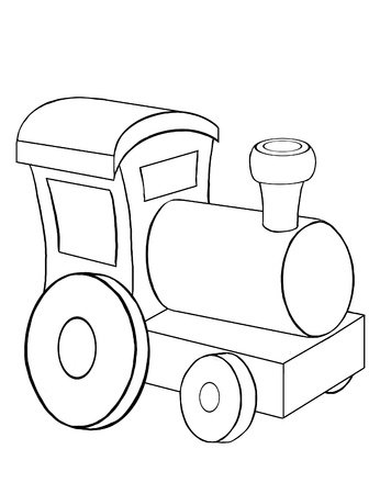 Contour drawing of the little toy train