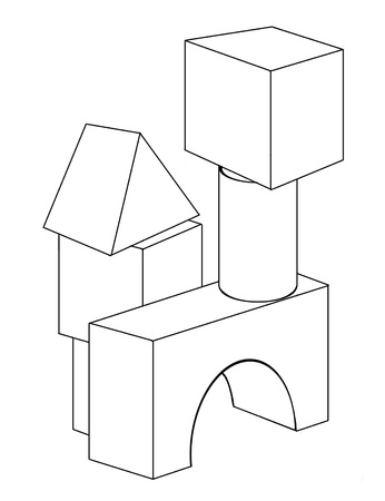 Contour drawing of the toy blocks for coloring Stock Photo