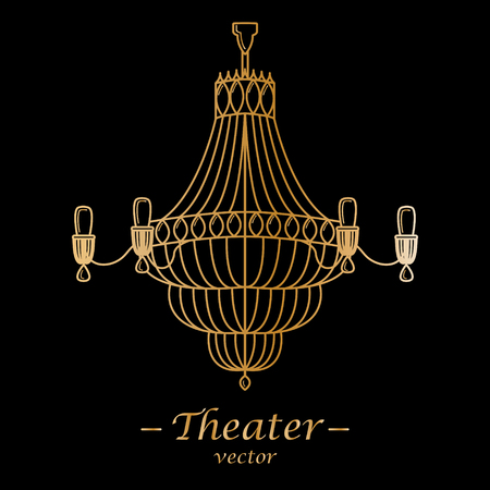 Vector illustration for theater. Gold logotype on a black background.