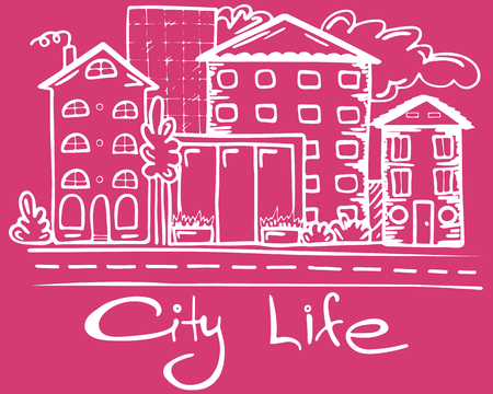 polygraph: Vector Illustration of city life on pink background. Illustration