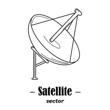 satelite: Vector logotype for satelite. Black illustration on white background.