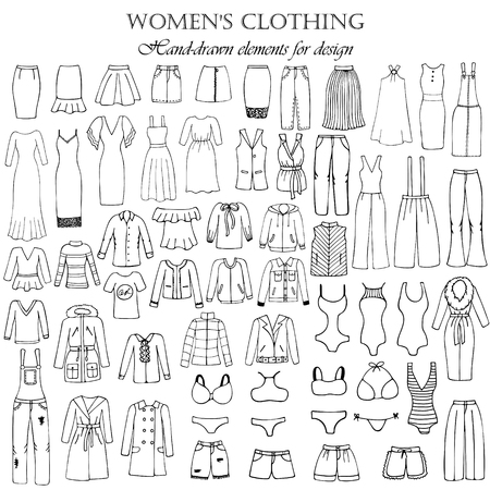 Set of 55 hand-drawn elements of a women's clothing for design. Black-and-white vector illustration.