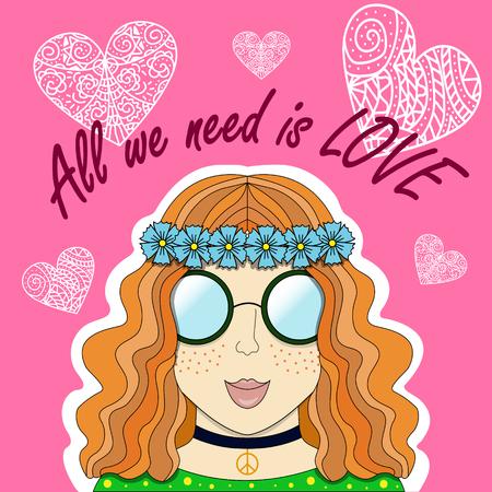 Vector illustration of red girl-hippie. Illustration