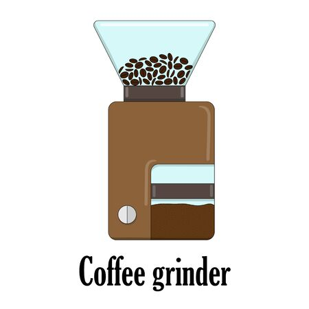Color vector illustration of the coffee grinder.
