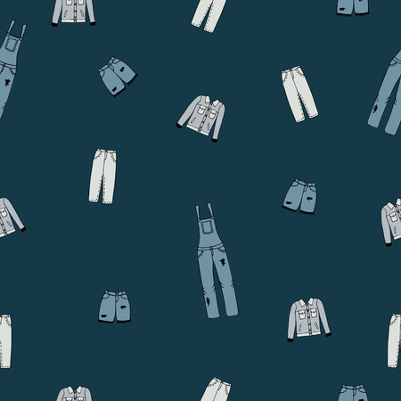 Seamless pattern with jeans clothes on a blue background.