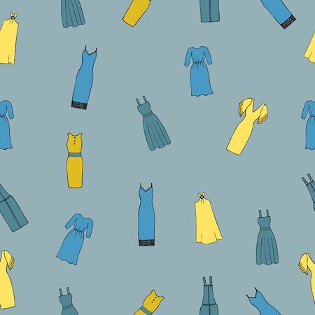 Seamless pattern with womens dresses on a blue background.