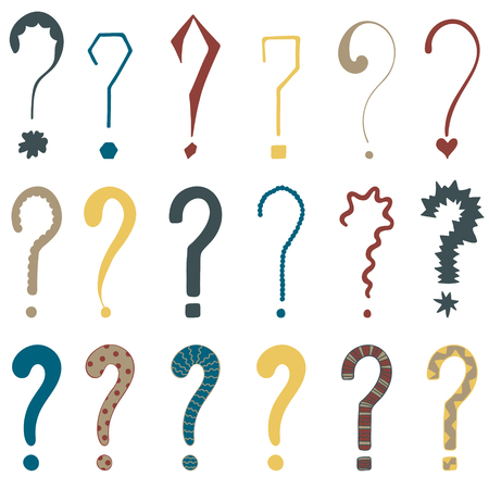 Set of 18 question marks for design.