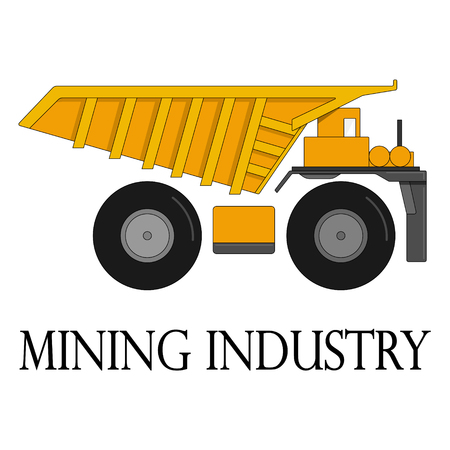 Color illustration of the dump truck for the mining industry on a white background. Vectores