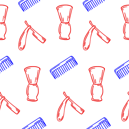Hand-drawn illustration for Barbershop. Seamless pattern on the white background.