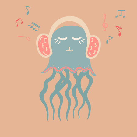 Lovely illustration with a jellyfish music lover. It is intended for cards, calendars, prints on clothes and notebooks. Ilustrace