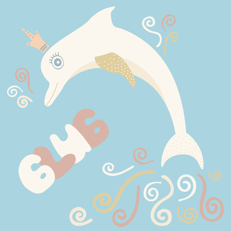 Lovely illustration with a gentle dolphin. It is intended for cards, calendars, prints on clothes and notebooks. Ilustrace