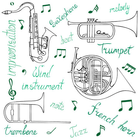 Set of hand-drawn wind musical instruments, notes, and lettering.