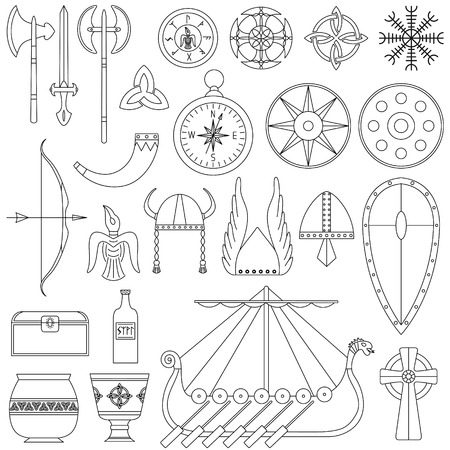 Set of black-and-white vector illustrations for the design of Viking's life. Stock Vector - 93768289