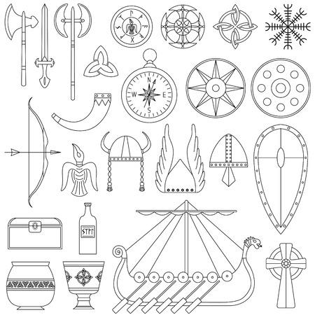Set van zwart-wit vectorillustraties voor het ontwerp van het leven van Viking.