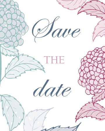 Greeting card with gentle pink and blue hydrangeas. Save the date.